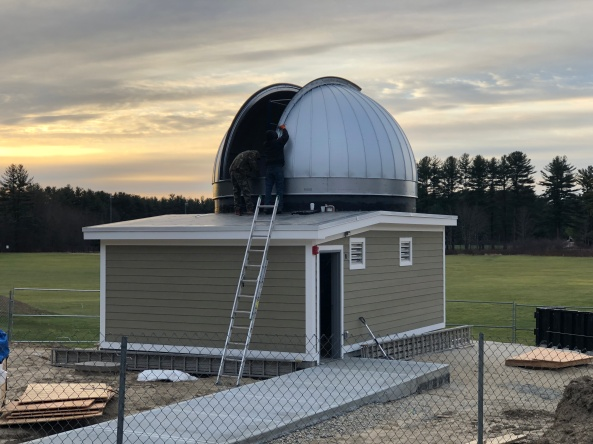The dome is almost complete in this image taken at 6:30am with the sun rising. The dome's motion is smooth and has that familiar rumble to it as it rotates in azimuth on its well-aligned and level bearings.