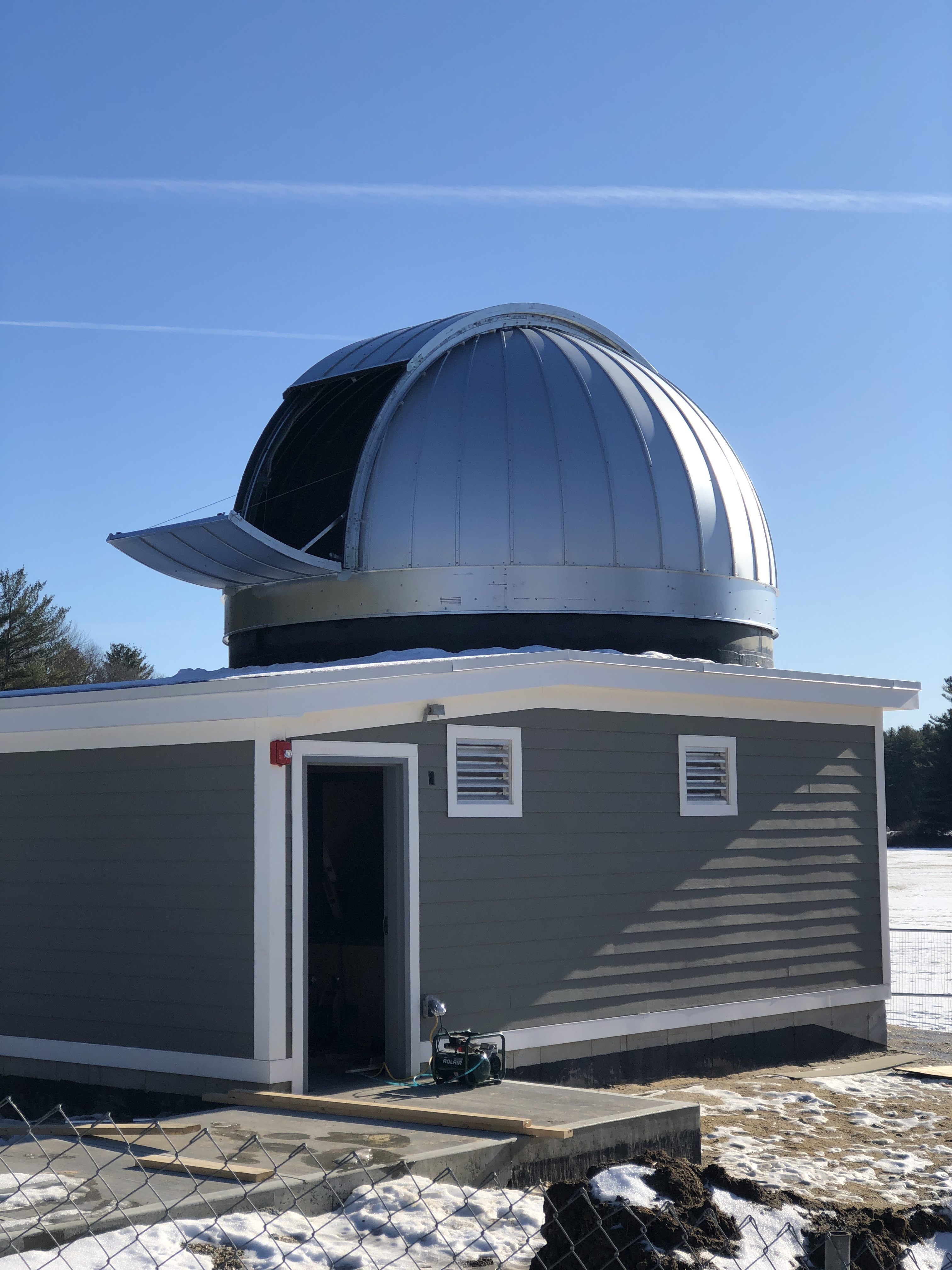 Exterior view with the lower shutter open and the dome rotated to point north.
