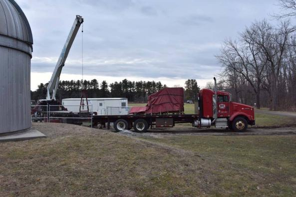 The telescope arrives on a flatbed
